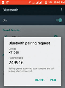 Bluetooth pairing on the phone