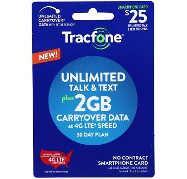 Tracfone No Contract Plan 2GB Data Plus Unlimited Talk and