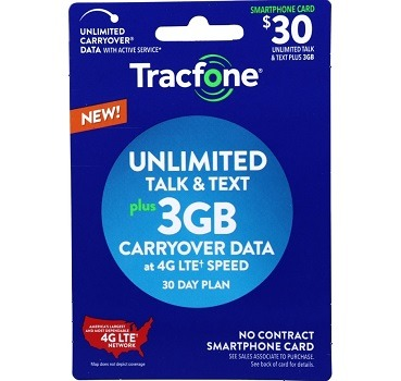 Tracfone No Contract Plan 3GB Data Plus Unlimited Talk and